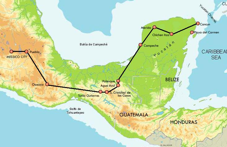 Mappa Grand Tour Messico